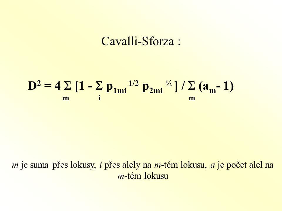 D2 = 4 S [1 - S p1mi 1/2 p2mi ½ ] / S (am- 1) m i m